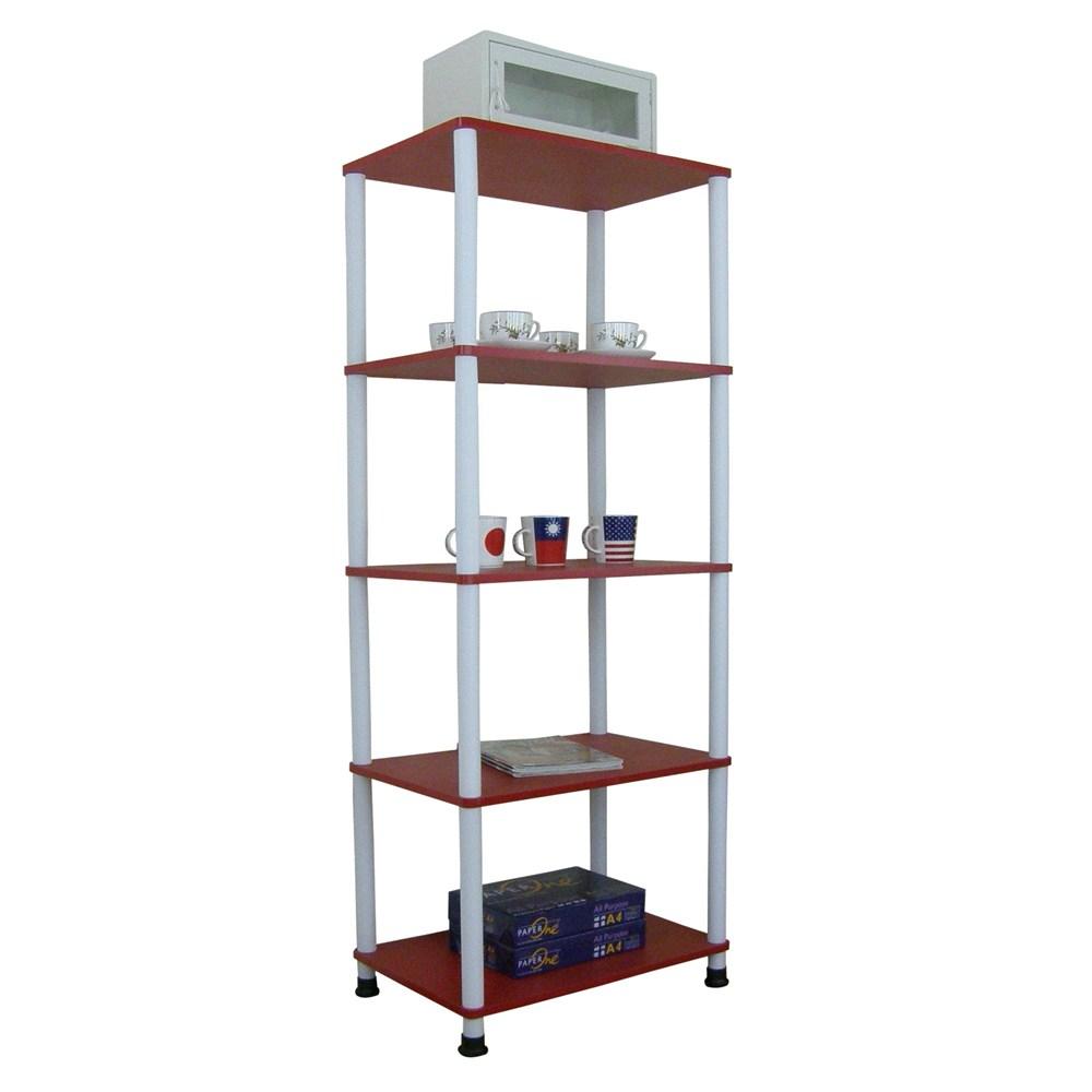 【頂堅】五層長管-置物架/電器架/收納架-寬60x深40公分-三色可選喜氣紅色