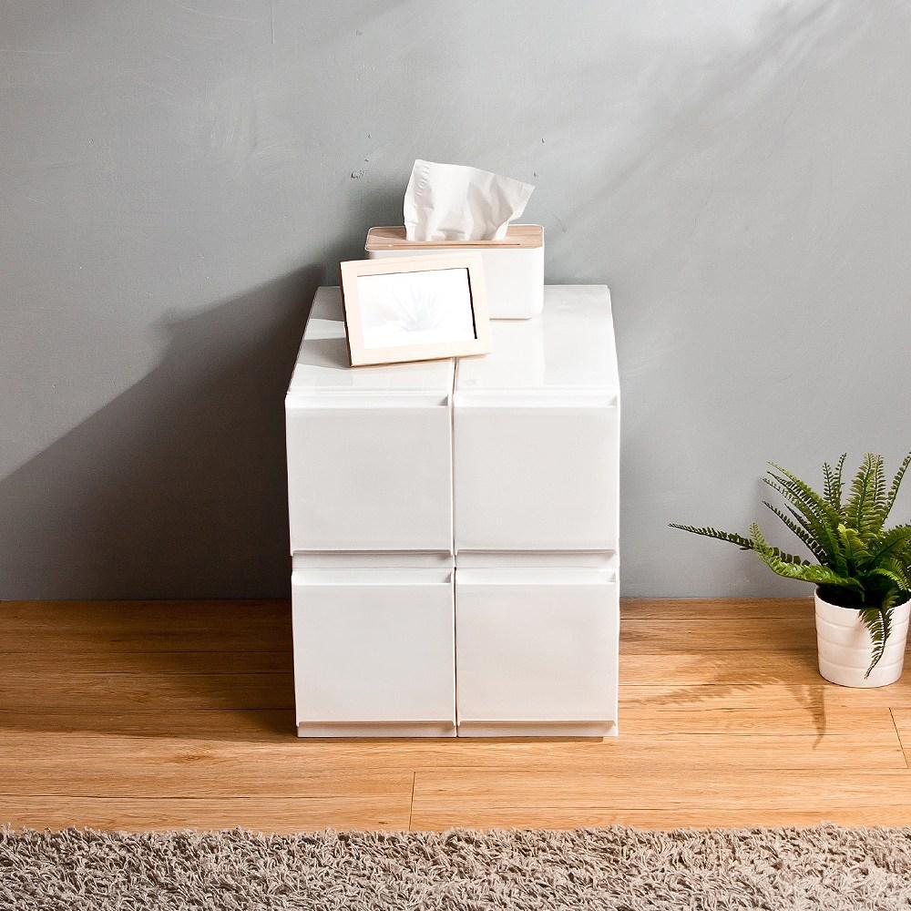 【HOUSE】1號特小栗子純白無印風一層收納箱-4入(附隔板)1號特小栗子(4入)