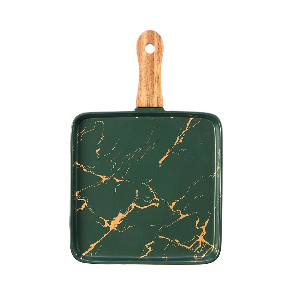 霧光理石紋8吋木柄正方盤-墨綠