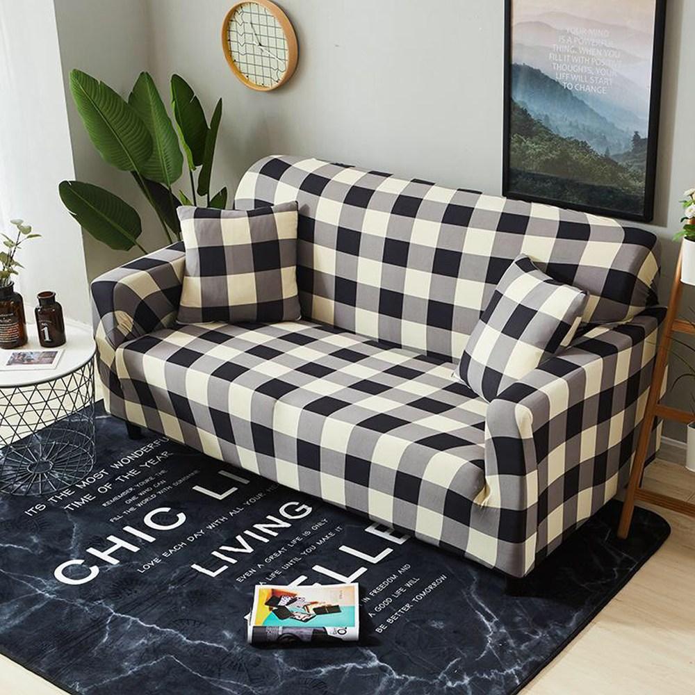 【歐卓拉】日風格紋彈性沙發套-1+2+3人