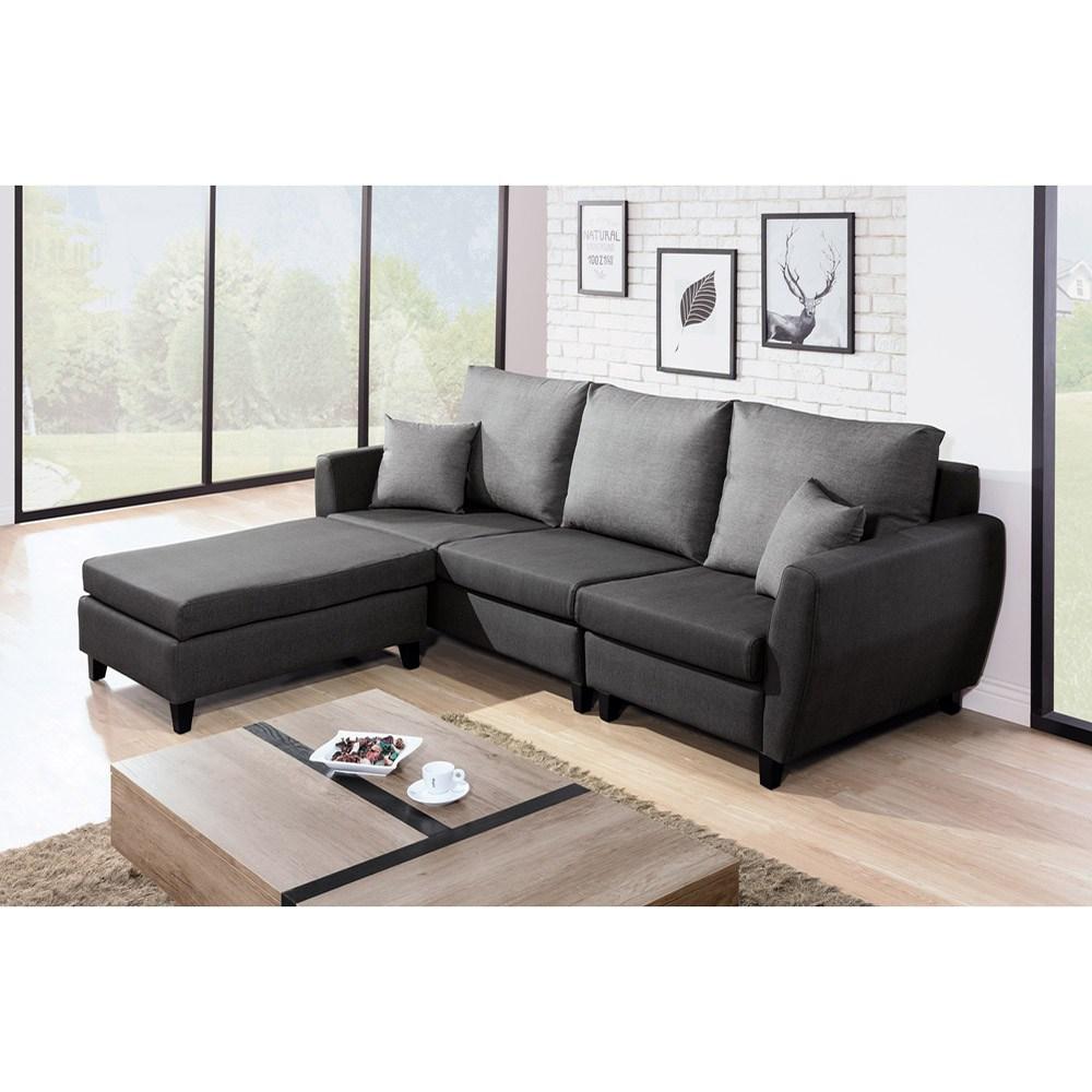 布里安L型皮沙發