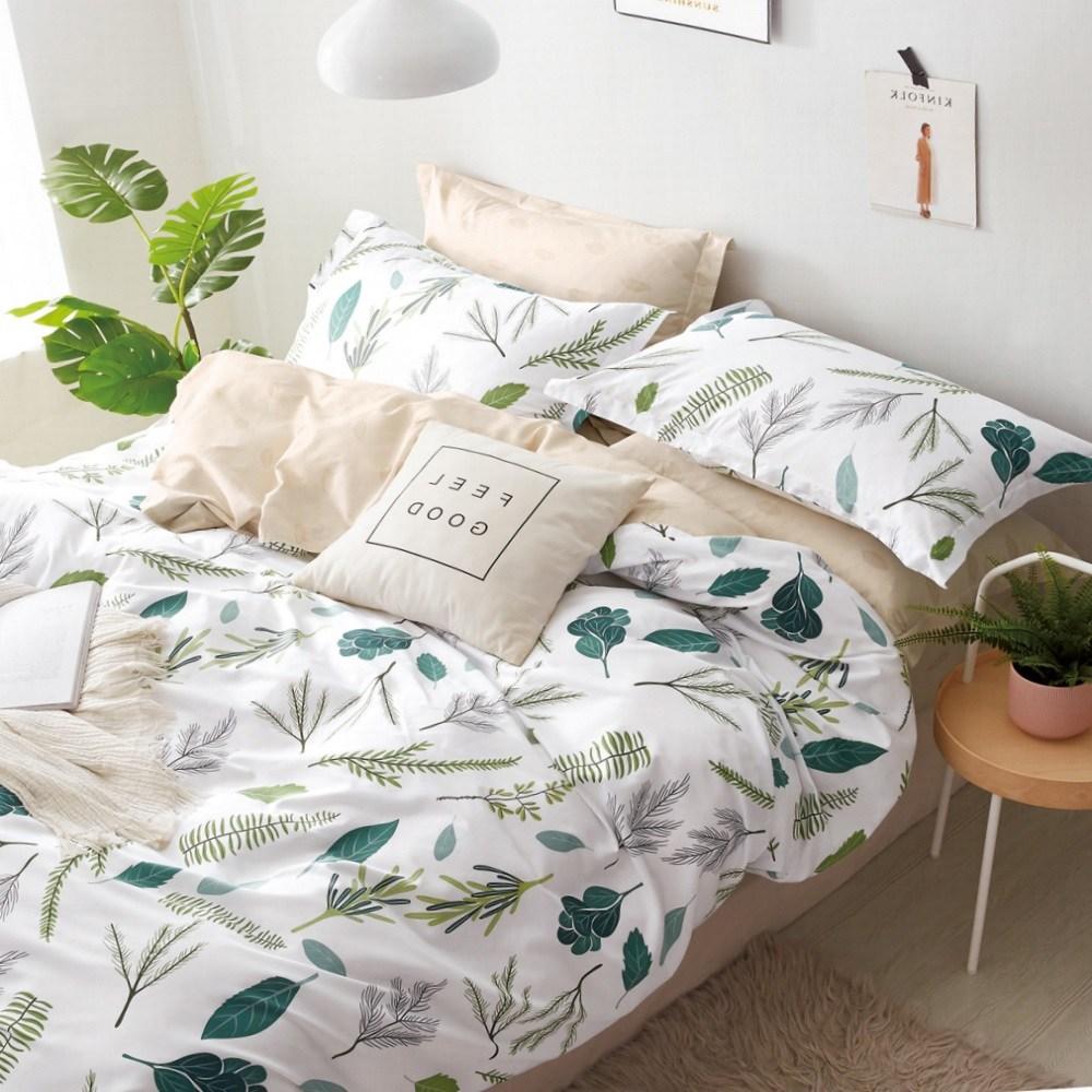 【eyah】台灣製200織紗天然純棉雙人床包枕套3件組-樹葉奔舞