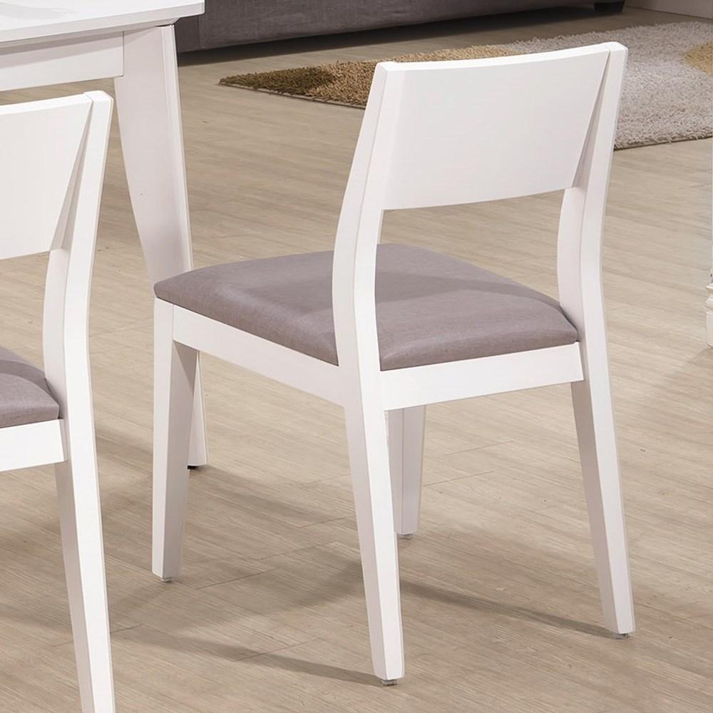 喬伊白色灰亞麻紋皮餐椅