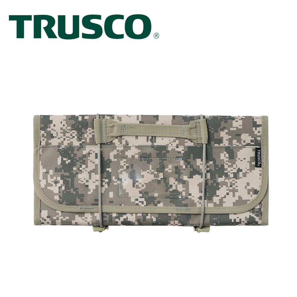 【Trusco】數位迷彩-軍綠色系捲筒式工具收納包-附套筒收納座
