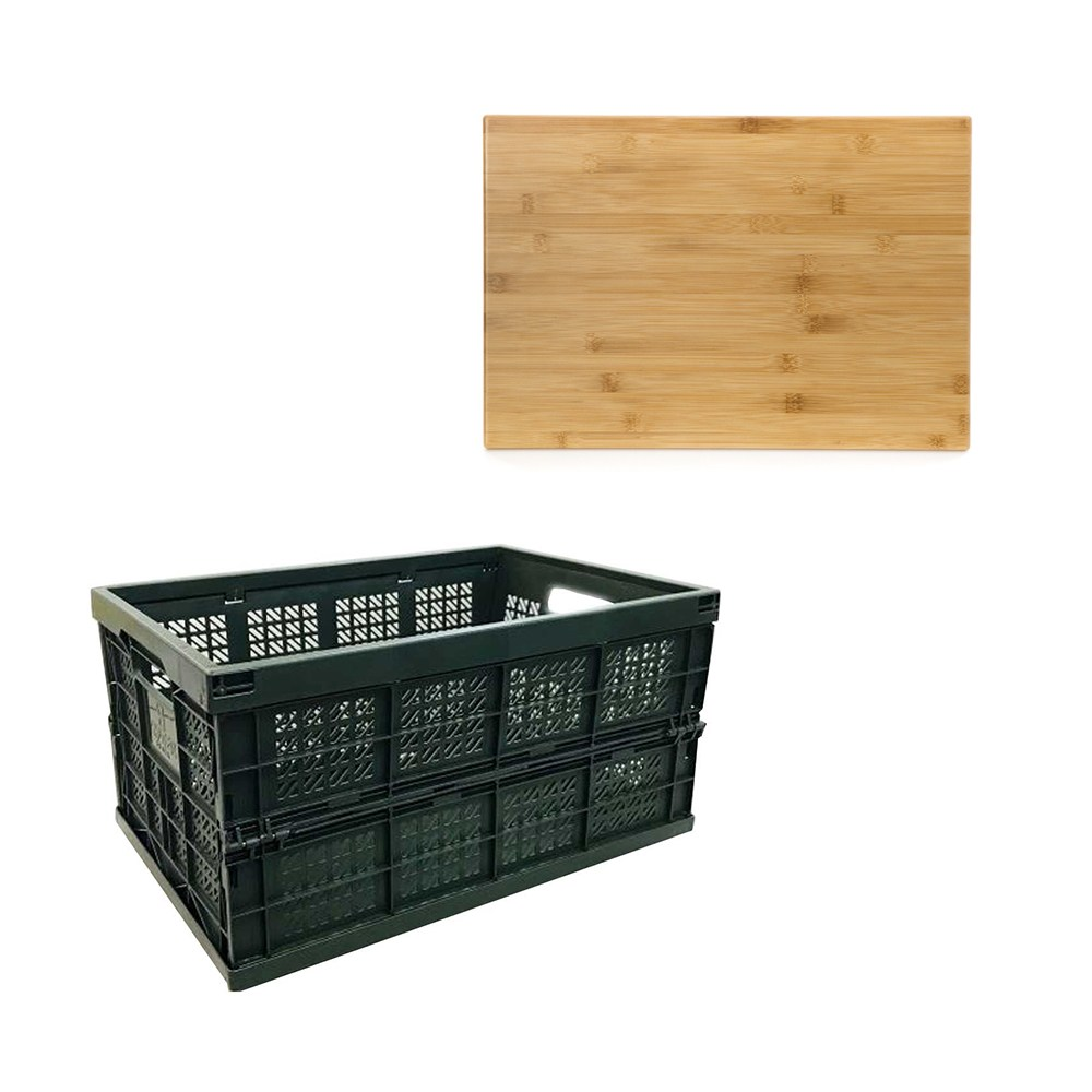 (組) 摺疊大收納籃-深綠 + 桌板 大