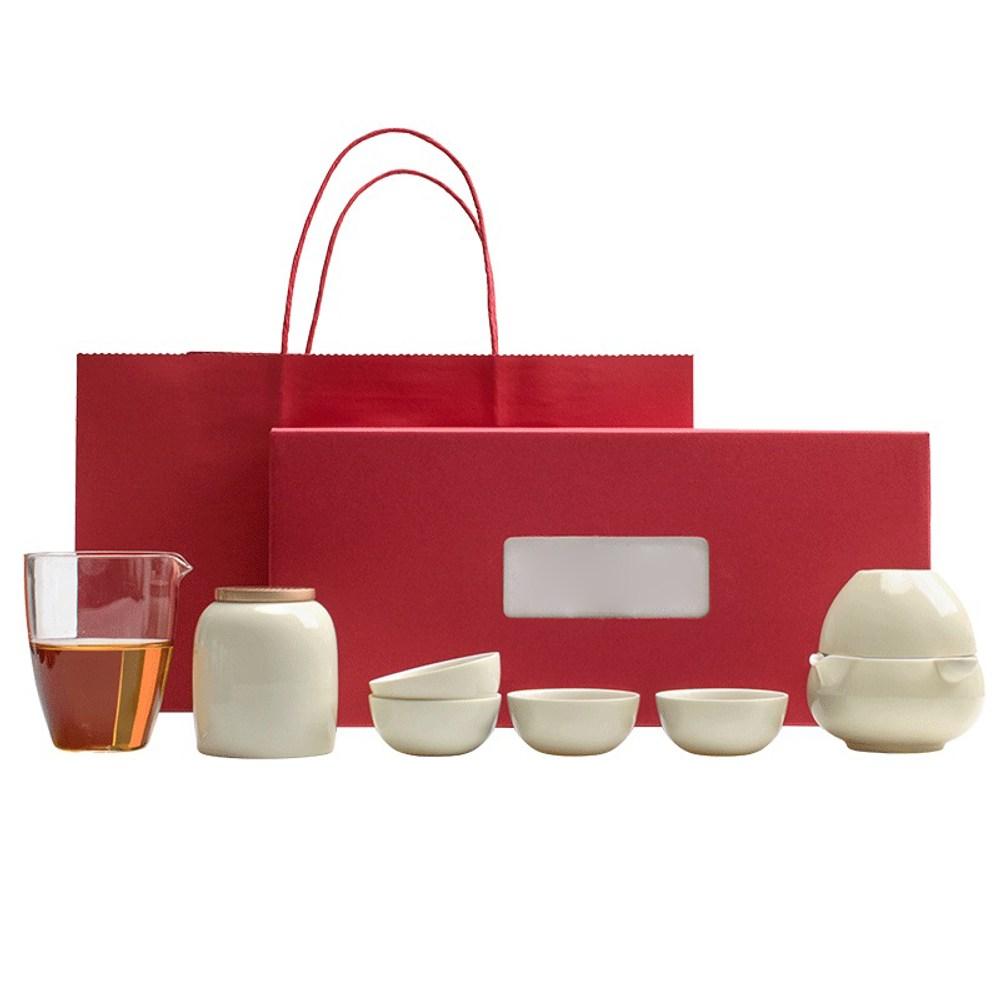 靜悟 1壺五杯+公道杯+茶葉罐-月光白