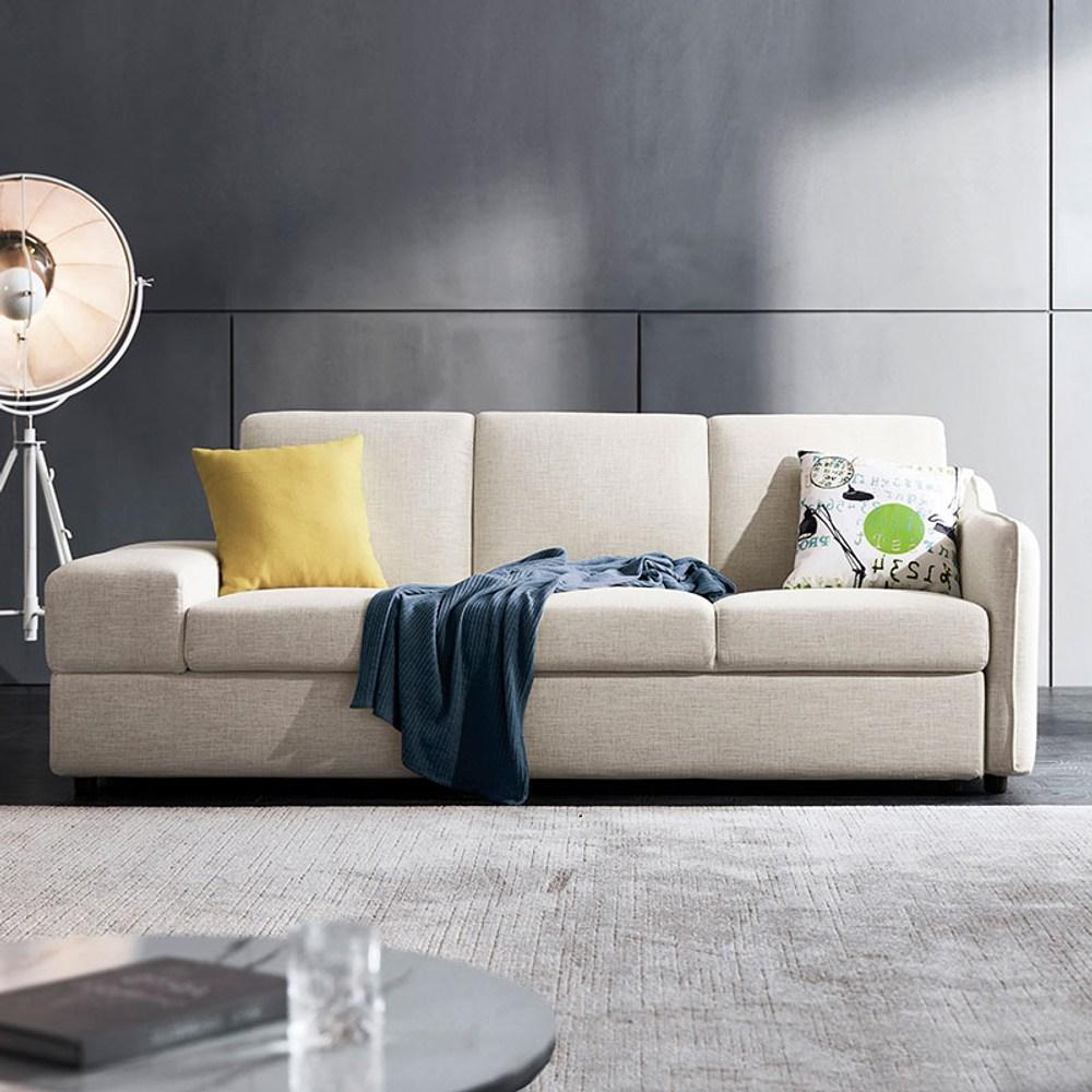 林氏木業簡約現代多功能儲物左三人布沙發床(附抱枕)1004 V2-米白色