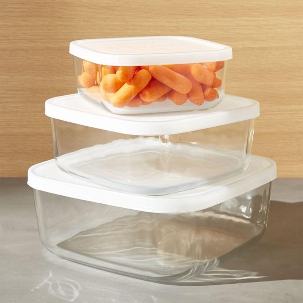 Crate&Barrel Square 方型玻璃保鮮盒  3入