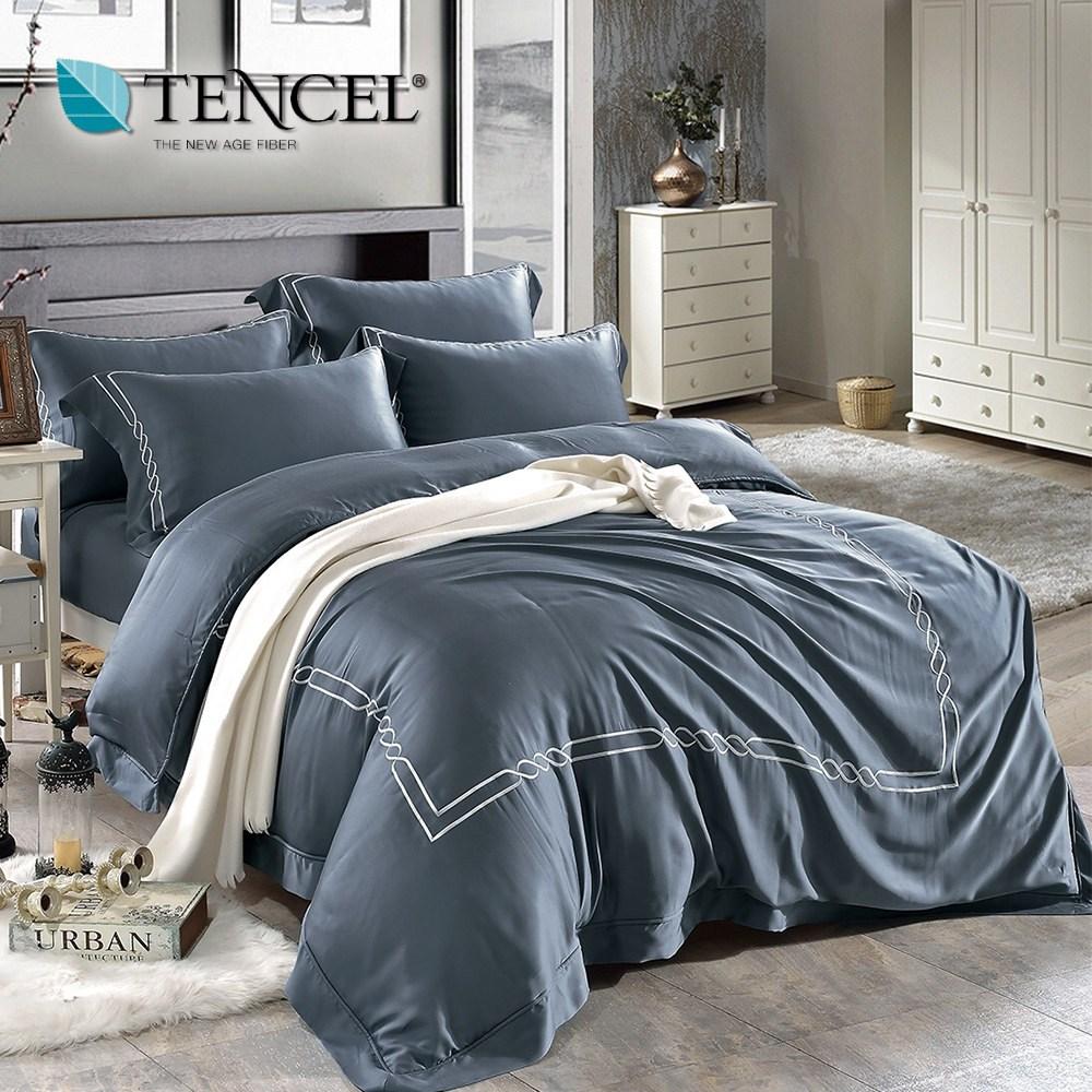 60支刺繡素色萊賽爾天絲兩用被床包組 古典款(雙人/極地藍)
