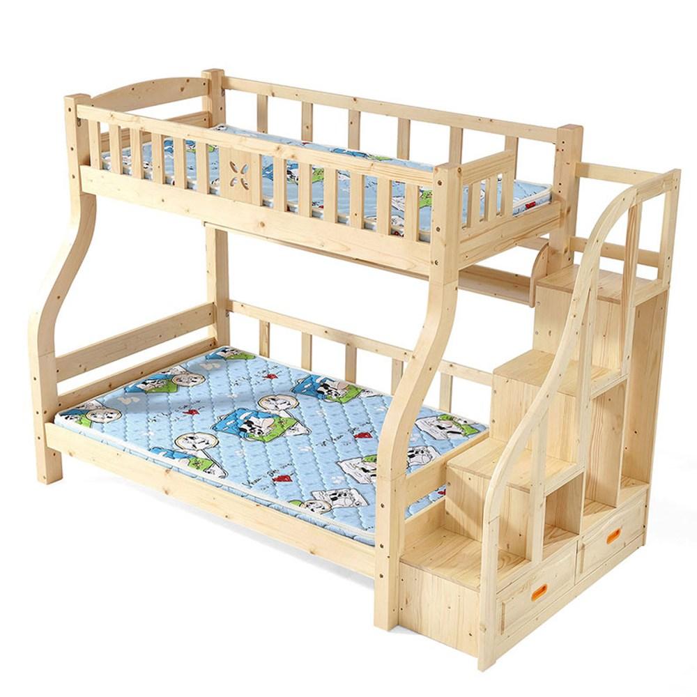 林氏木業北歐全實木松木雙層5尺150x190兒童床 CQ7A (附梯櫃)