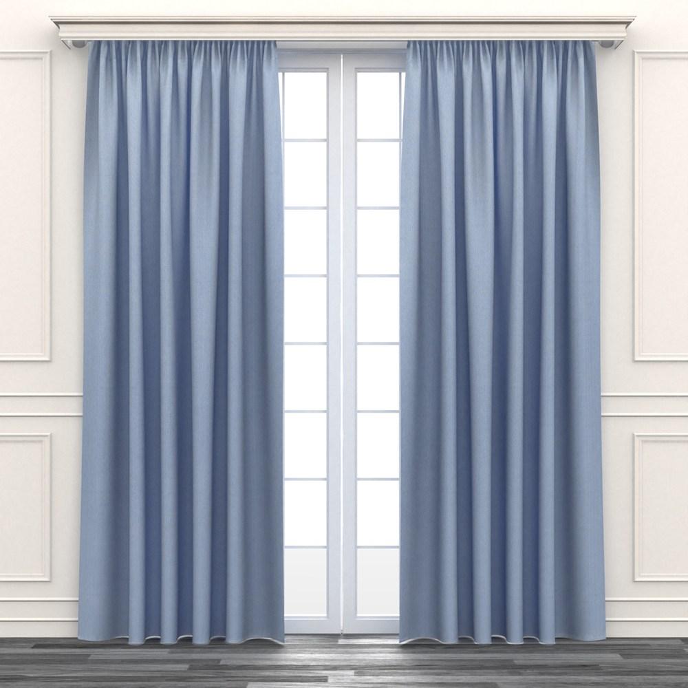 編紋遮光窗簾 寬290x高240cm 藍色