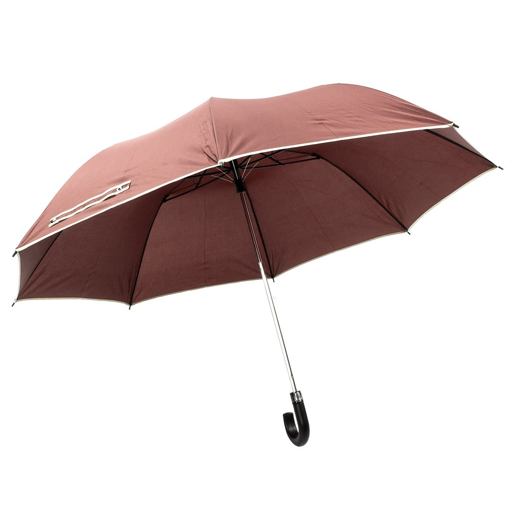 樂嫚妮 超大自動開折四人用彎把雨傘-咖咖