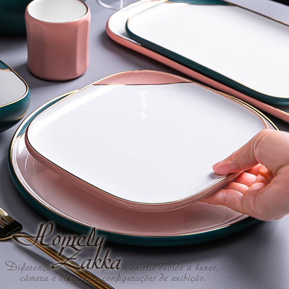 【Homely Zakka】北歐輕奢風啞光金陶瓷餐具_方形平盤_少女粉