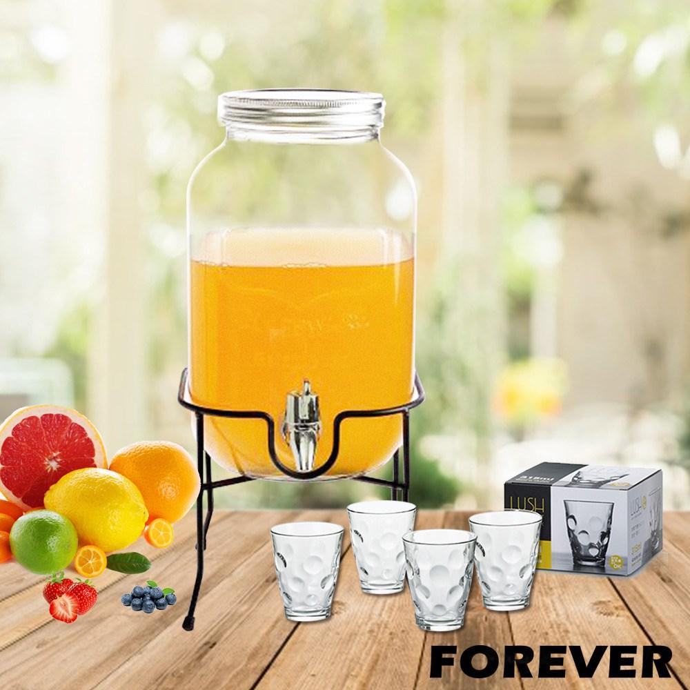 【日本FOREVER】派對玻璃果汁飲料桶(含桶架)4L贈玻璃水杯四件