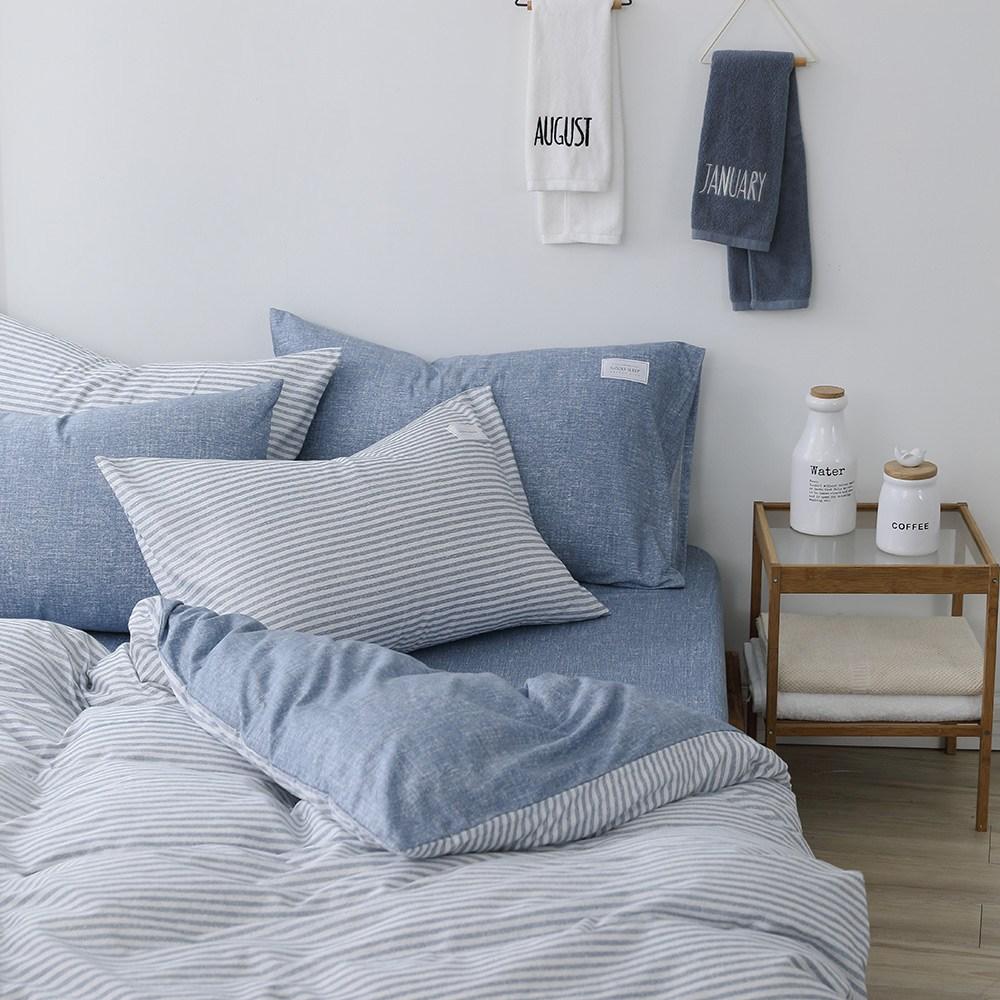 GOLDEN-TIME恣意簡約200織精梳棉薄被套床包組(藍-加大)