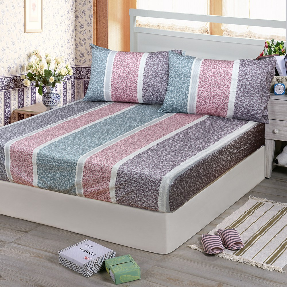 【Victoria】純棉雙人床包+枕套三件組-繁花