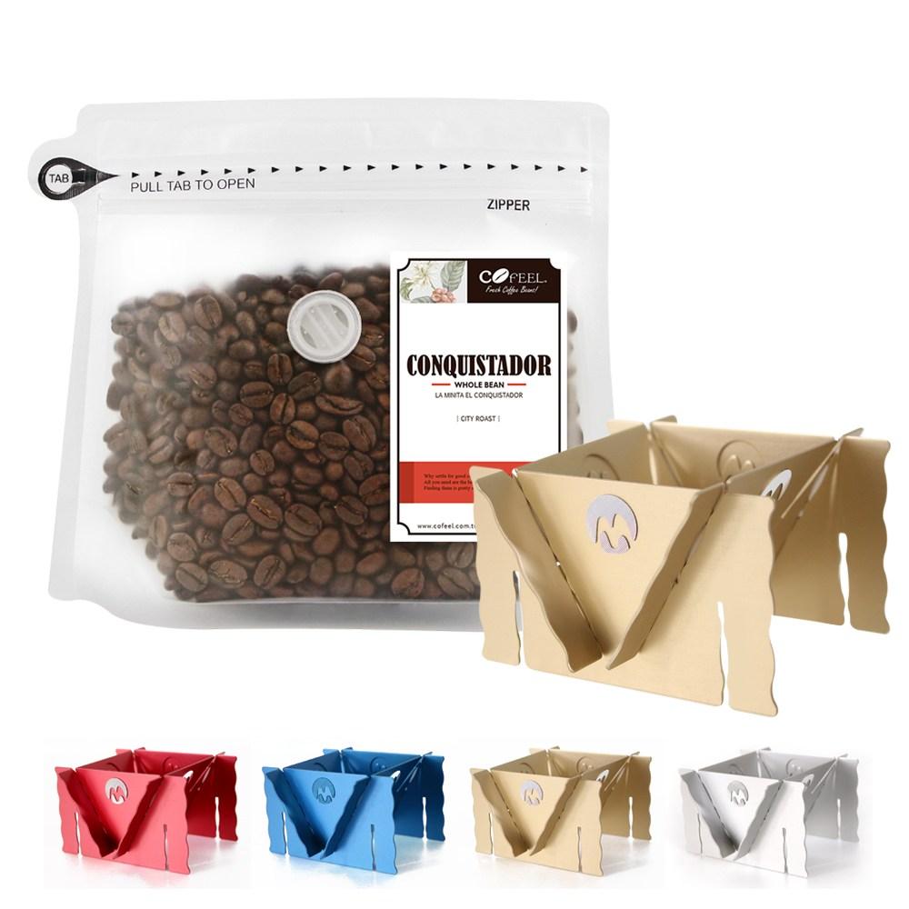 CoFeel 凱飛鮮烘豆哥斯大黎加征服者中深烘焙咖啡豆半磅+咖啡架