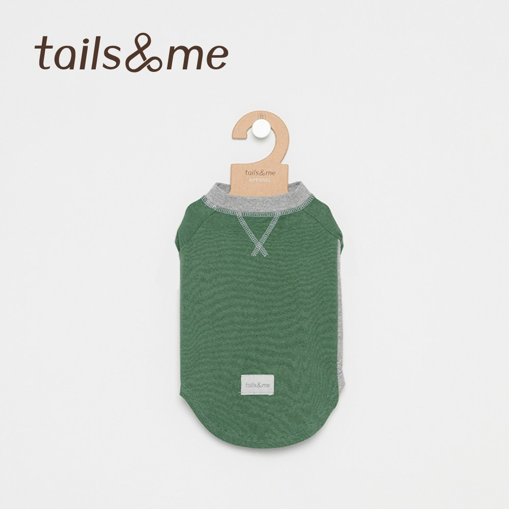 Tails&Me 尾巴與我-無袖撞色磨毛上衣(XS)綠