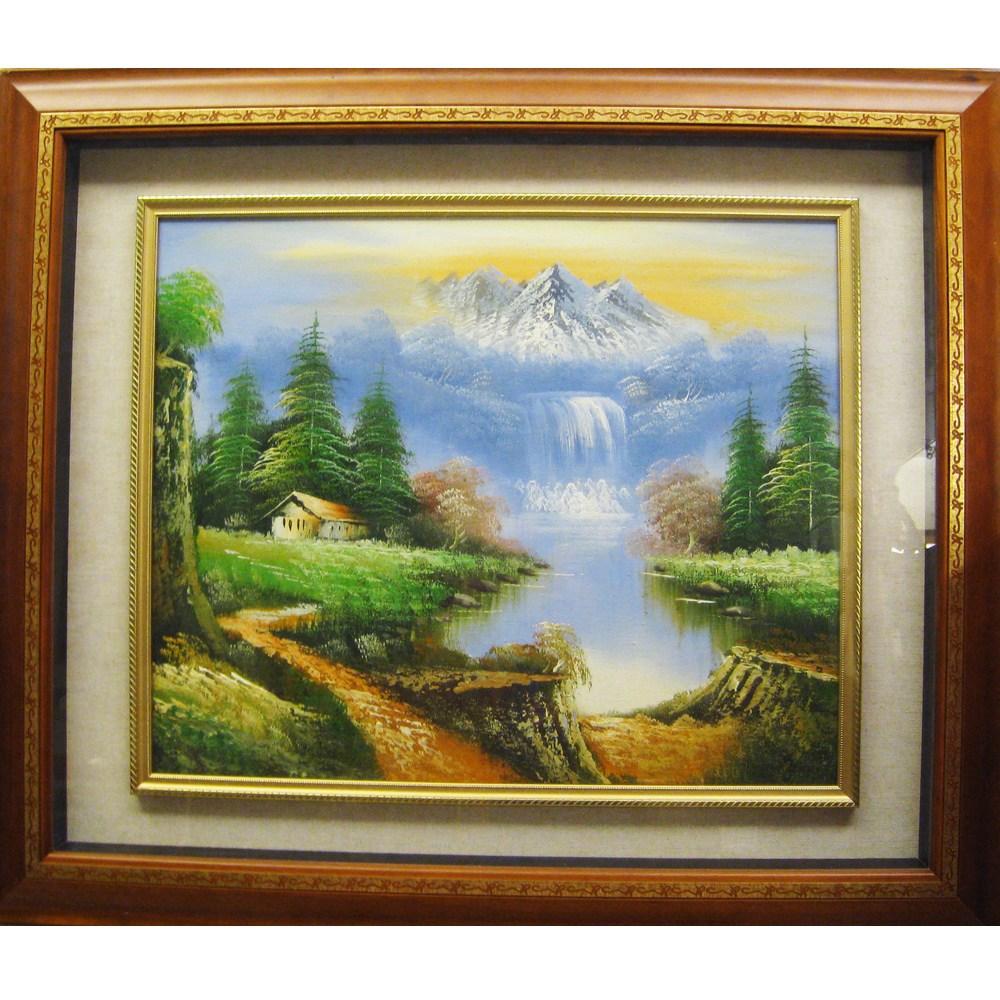 開運風景山水畫 原作手繪 油畫掛畫壁飾寬x高/86x73cm/上附壓克力玻璃