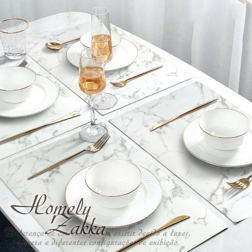 【Homely Zakka】北歐簡約ins風大理石紋皮革餐墊/防燙桌墊_白色