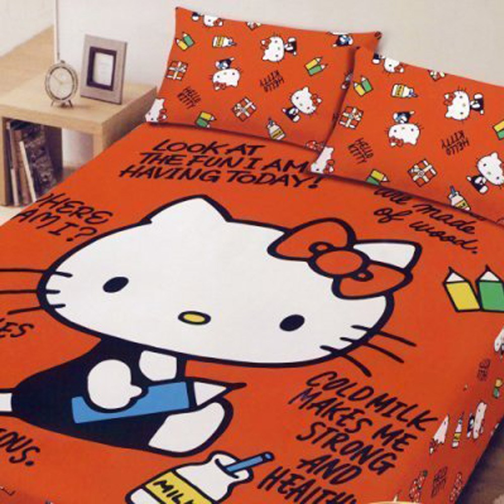 BUTTERFLY-凱蒂貓-搖粒絨刷毛雙人床包三件組- 我的筆記本