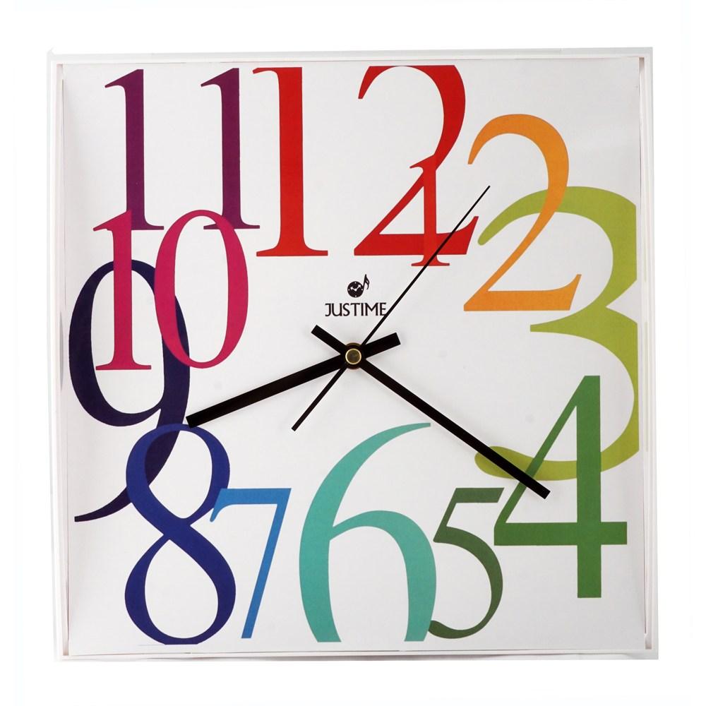 【JUSTIME 鐘情坊】彩虹亮麗風格方型時鐘 大數字清晰易讀  靜音彩色數字