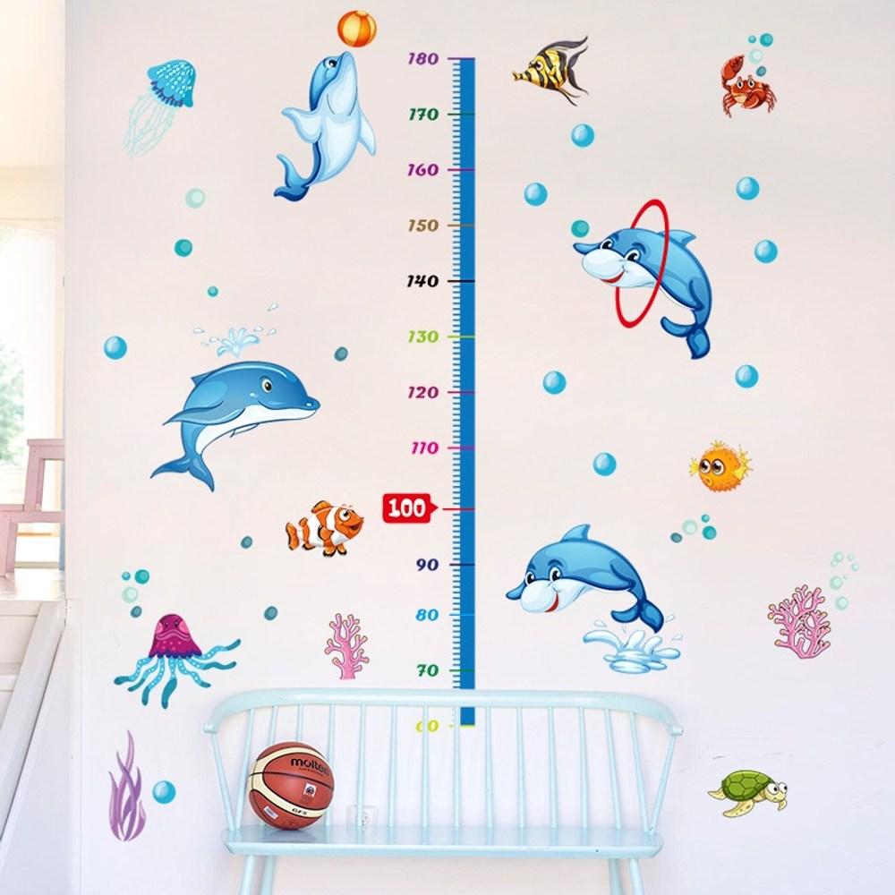 高級無痕環保壁貼可愛卡通身高尺60x90cm 混款