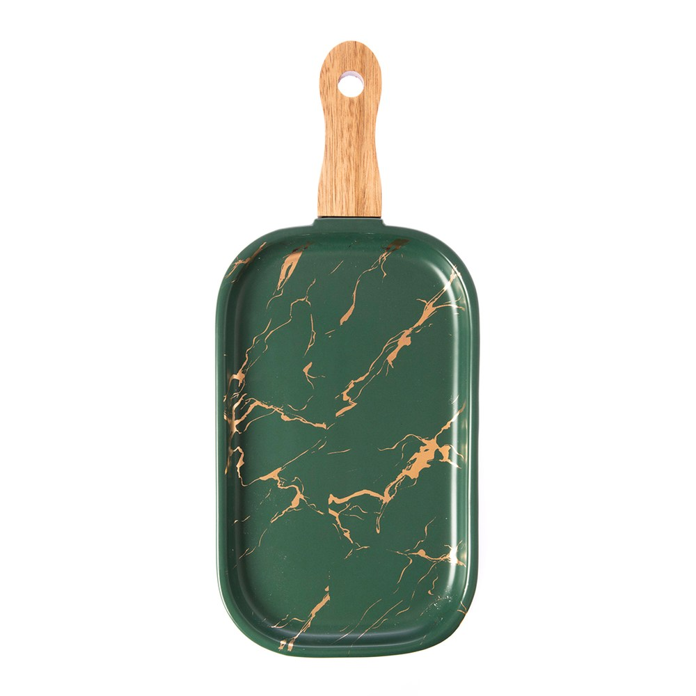 霧光理石紋10.5吋木柄長方盤-墨綠