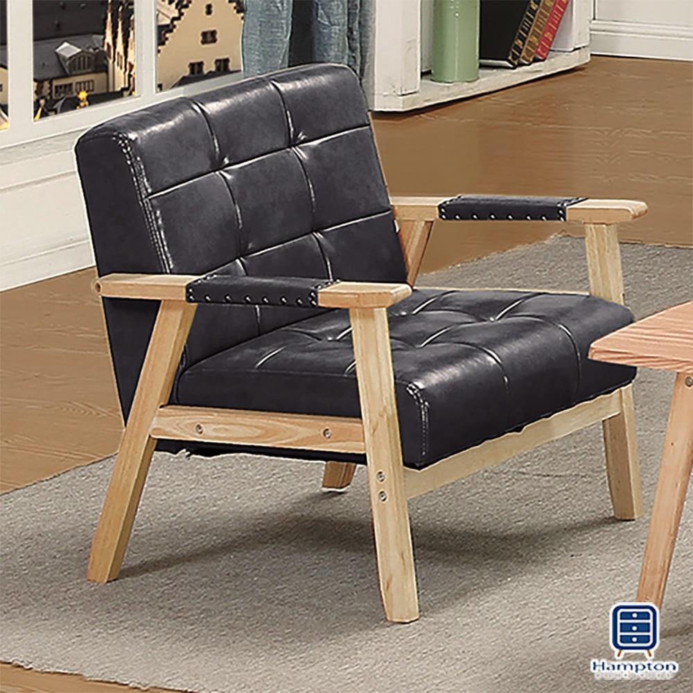 【Hampton 漢汀堡】福特黑色皮面單人沙發