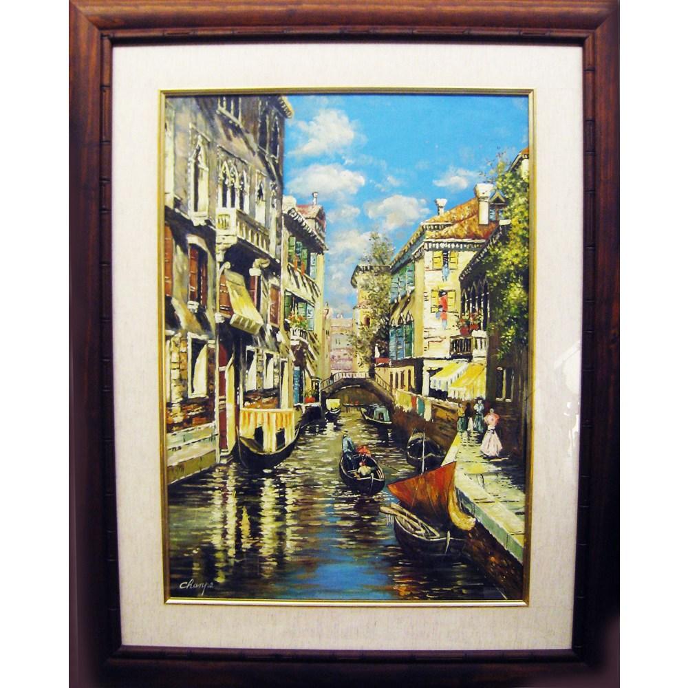威尼斯水景 原作手繪 油畫掛畫壁飾寬x高/78x98cm/上附壓克力玻璃