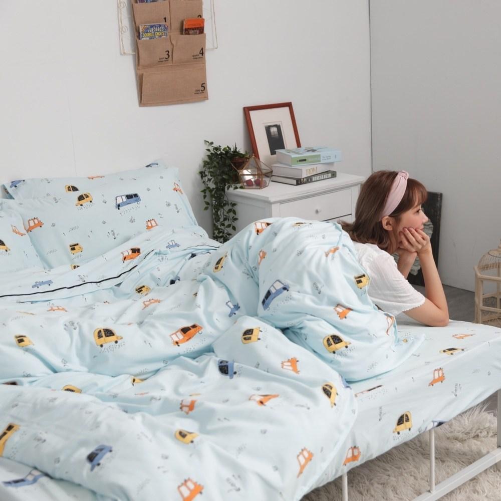 【eyah】音羽の絲雙人床包涼被四件組-多款任選汽車總動員
