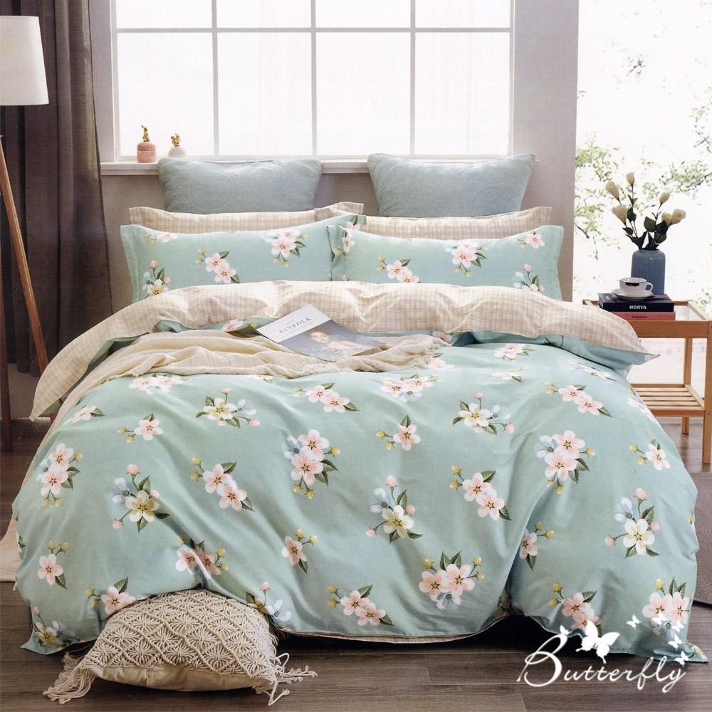 BUTTERFLY-台製純棉三件式枕套床包組-陽光花雨-綠(特大)