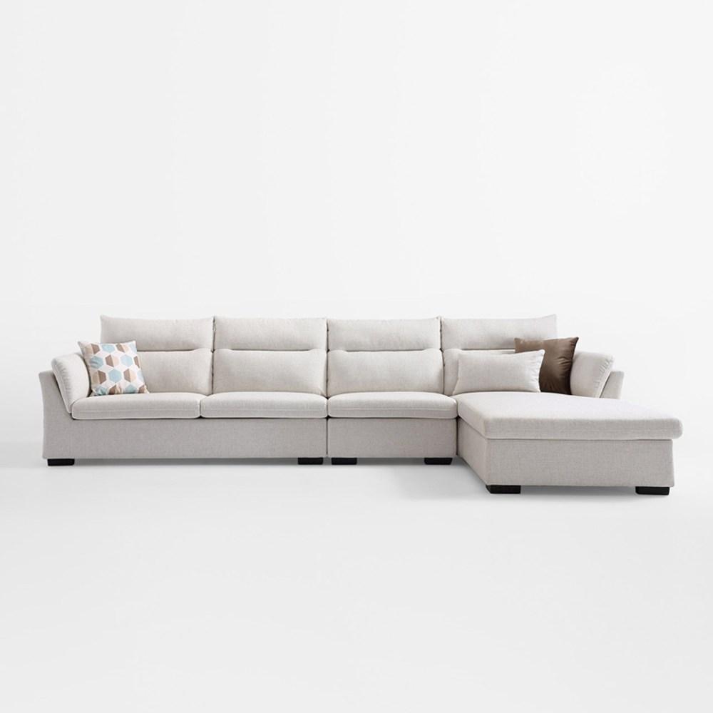 林氏木業簡約現代側邊儲物左L四人布沙發(附抱枕)S016-米白色