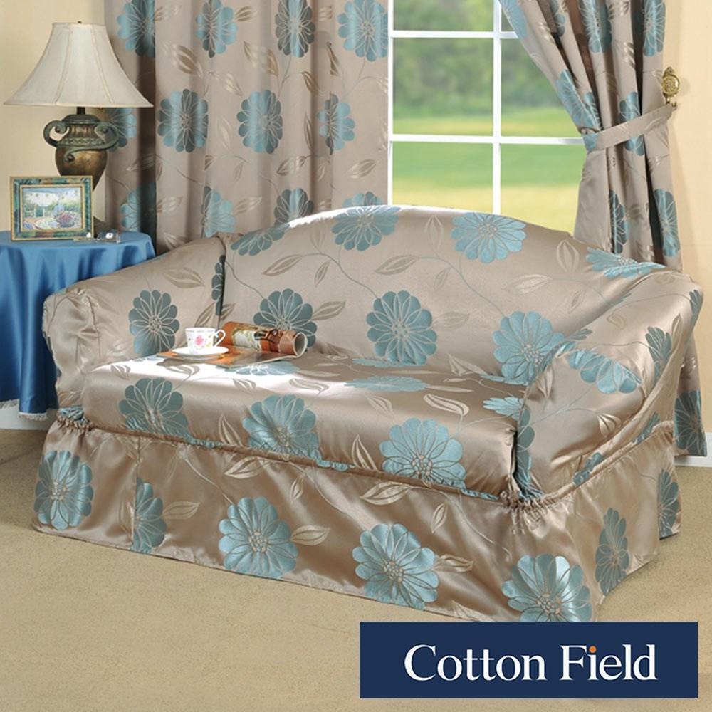 棉花田【花藝】提花1+2+3人沙發便利套-藍色1+2+3人-藍