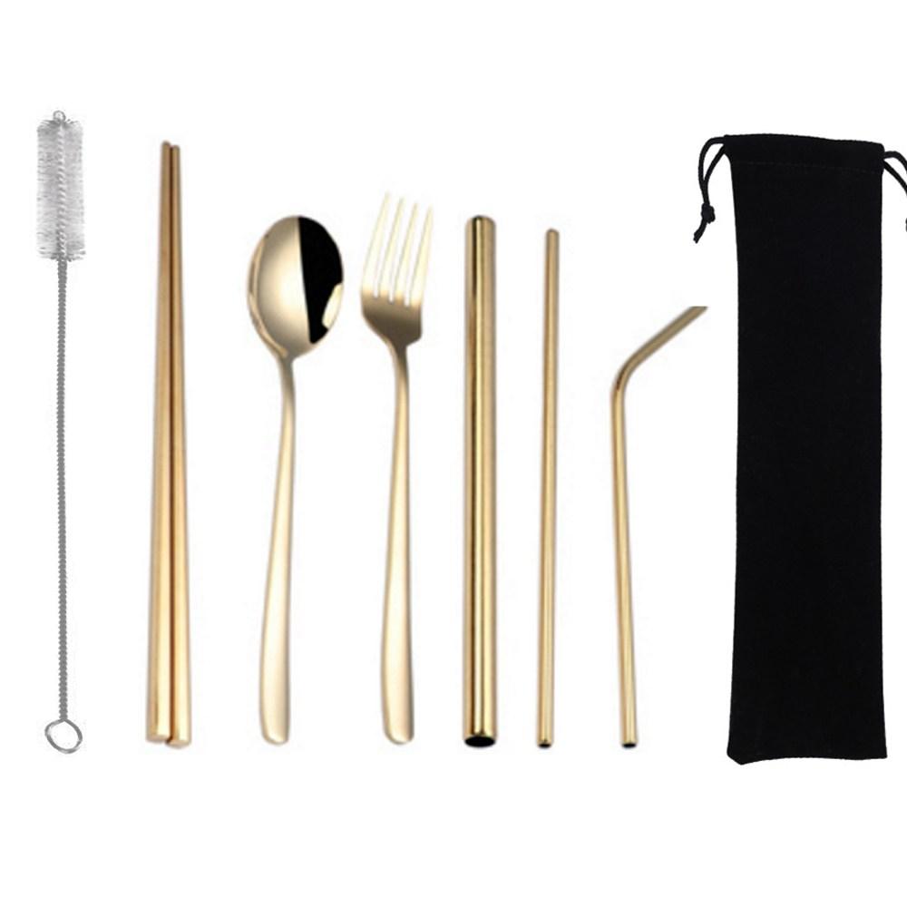 PUSH!鍍鈦304不鏽鋼8件套吸管餐具組(金色2套)E135-3金色2套