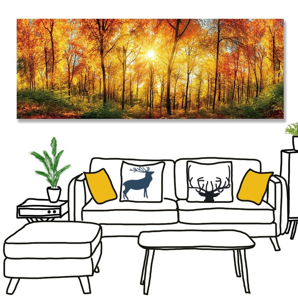 【24mama掛畫】單聯式 油畫布 無框畫 80x30cm-溫暖森林油畫布無時鐘