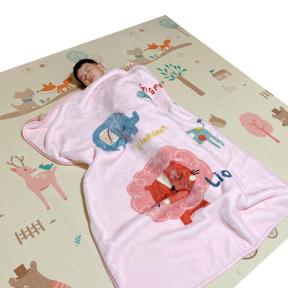 【Leafbaby】 幼兒冬天保暖法蘭雲貂絨兒童蓋毯-動物世界