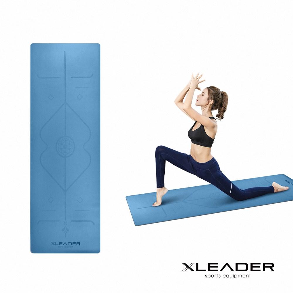 Leader X 專業天然橡膠 加寬止滑體位中導線瑜珈墊5mm 湖水藍