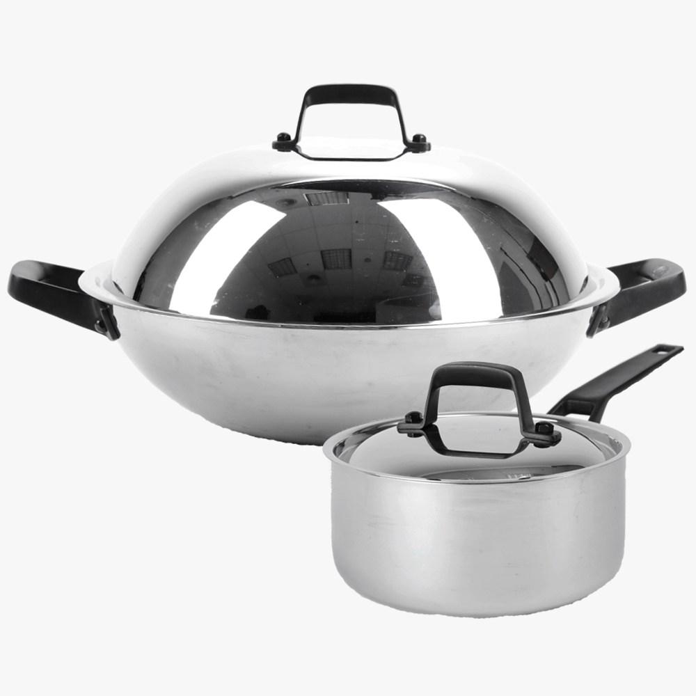 (組)316複合不鏽鋼36cm炒鍋+18cm單柄湯鍋