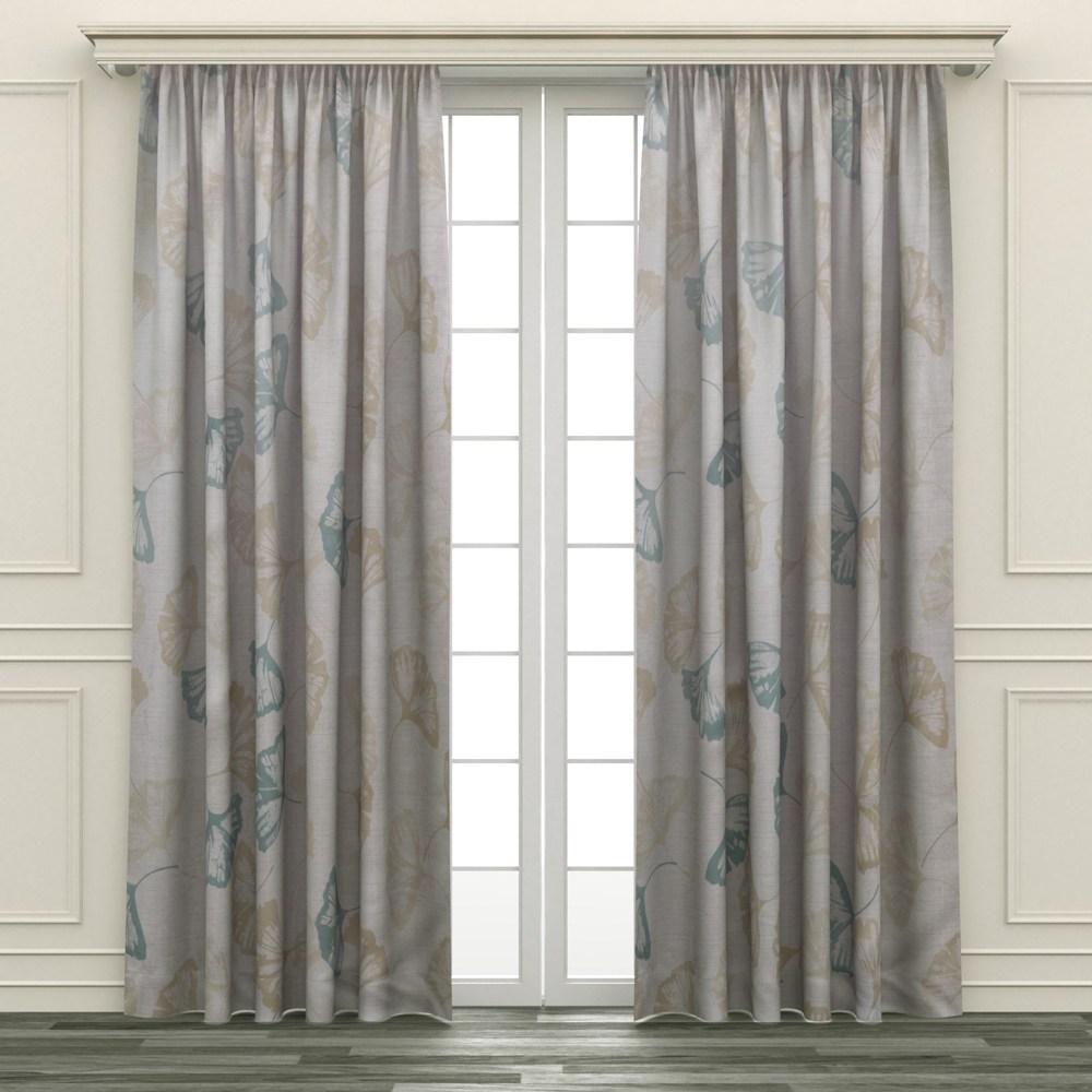 HOLA 銀葉印花隔熱背膠全遮光落地窗簾 270x230cm 灰金色
