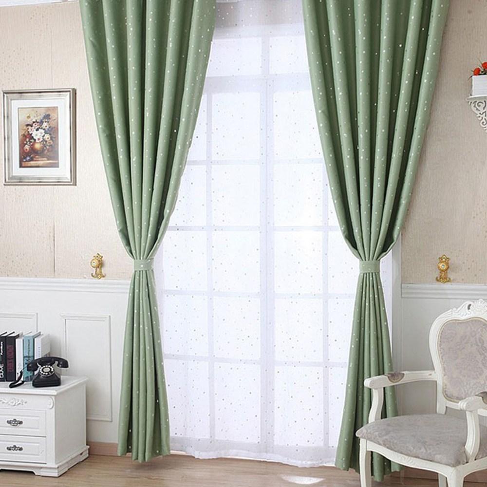 【三房兩廰】滿天星遮光窗簾(寬130*高165cm*2片) 綠色