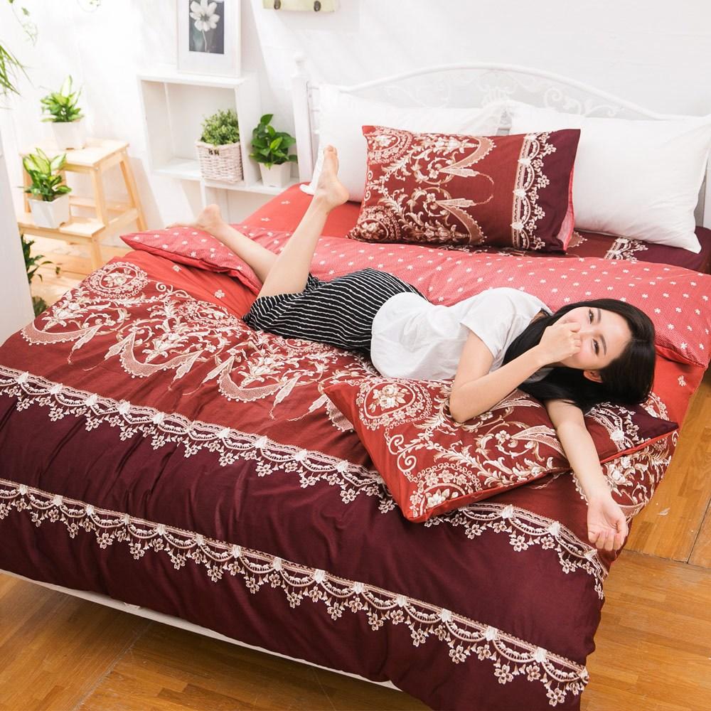 【eyah】台灣製205織紗精梳棉雙人被套-法國洛可可的浪漫-暗紅