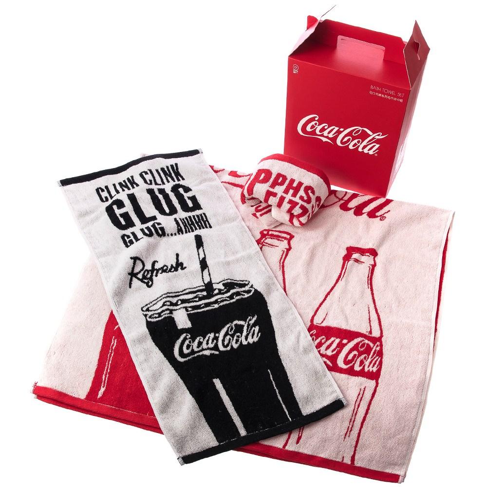 HOLA 可口可樂系列 緹花毛巾浴巾組 2毛巾+1浴巾 Coca-Cola
