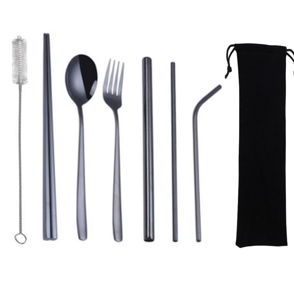 PUSH!鍍鈦304不鏽鋼8件套吸管餐具組(黑色2套)E135-5黑色2套