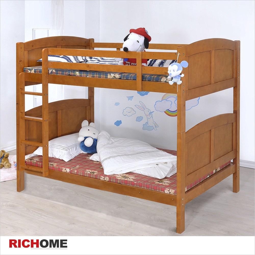 【RICHOME】柯瑞雙層床柚木色
