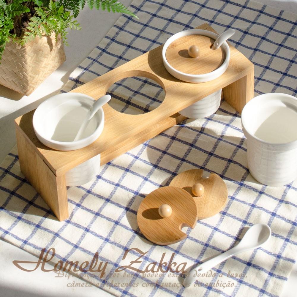 【Homely Zakka】美味食光波紋白瓷竹蓋調味料三罐組-波紋圓款
