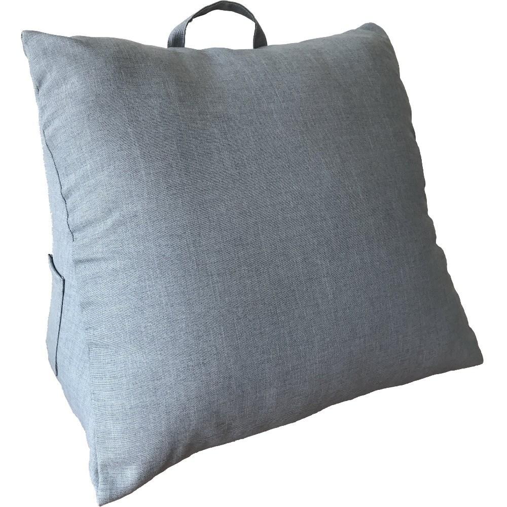【宜欣居傢飾】仿麻三角大靠墊*灰藍(多功能紓壓美腿/床頭靠枕/腰靠枕)