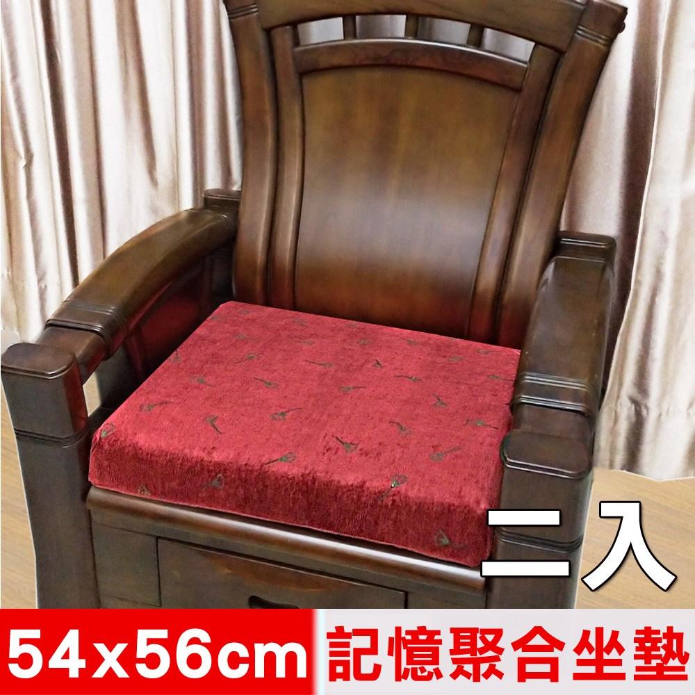 【凱蕾絲帝】記憶聚合絨布緹花坐墊/實木椅墊54x56cm線條康乃馨二入
