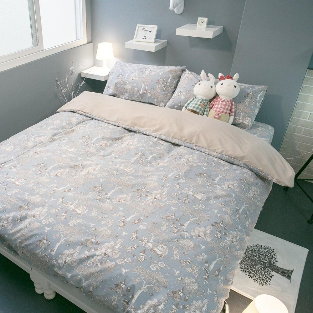 北歐風 四季磨毛布【鹿先生】床包+枕套 兩件組/【單人】