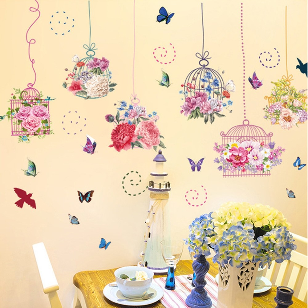 【Loviisa 繽紛花卉鳥籠】無痕壁貼 壁紙
